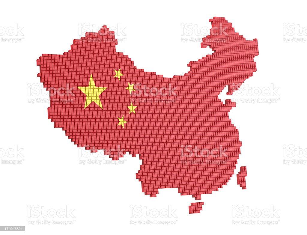 Pixel map of China royalty-free stock photo