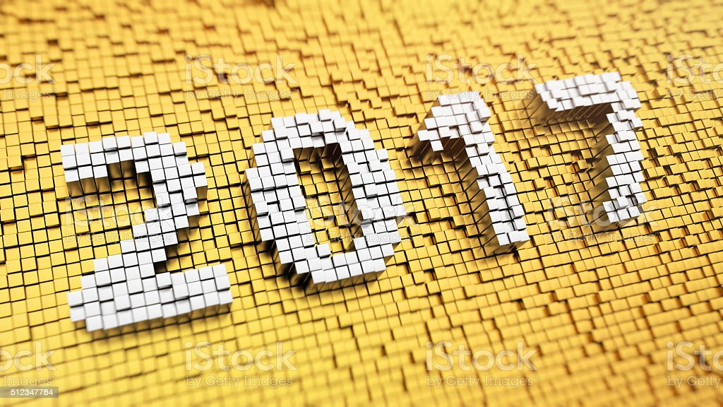 Pixelated 2017 stock photo