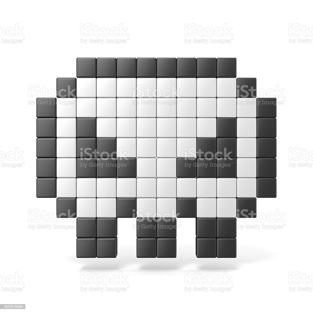Pixelated 8bit skull icon. Front view. 3D stock photo