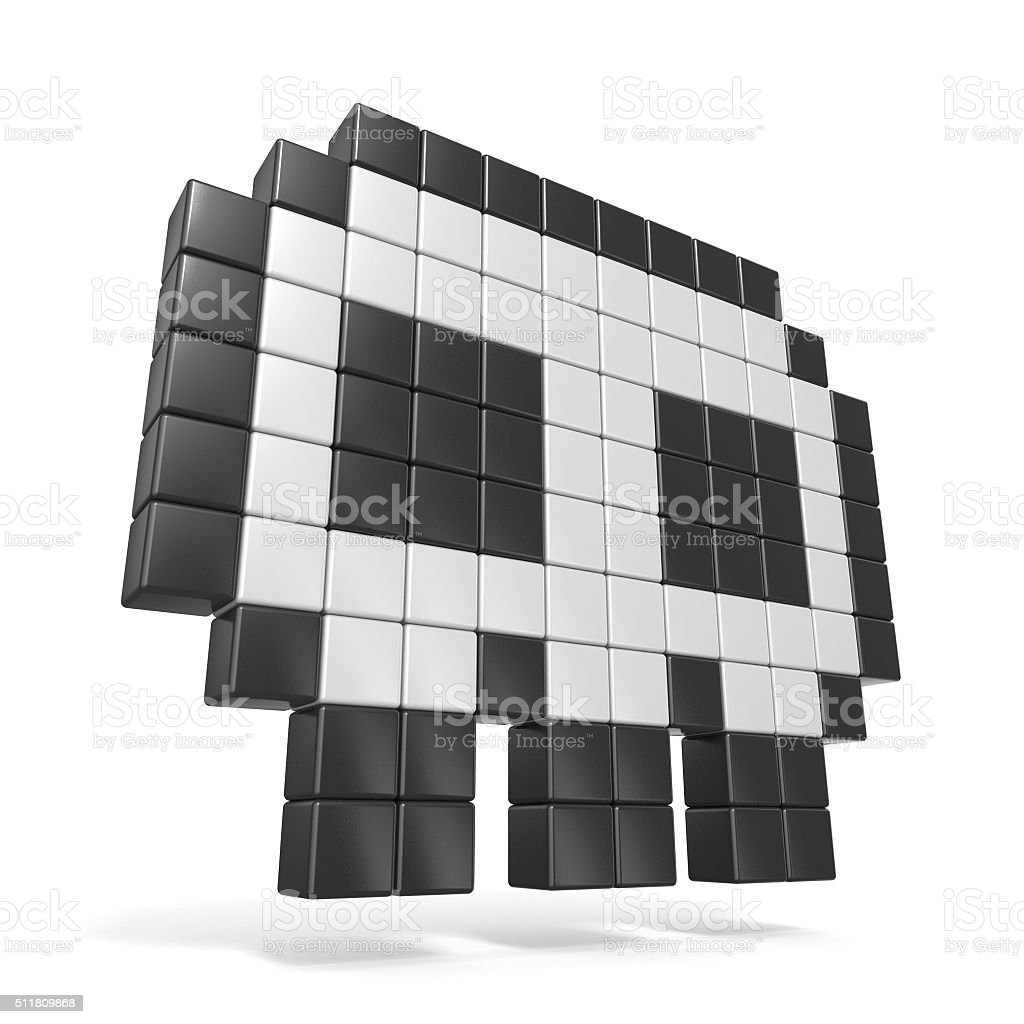 Pixelated 8bit skull icon. Side view. 3D stock photo