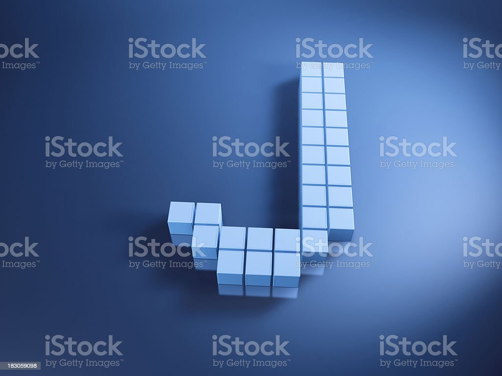 Pixelated Alphabet Letter J Blue Cubes royalty-free stock photo