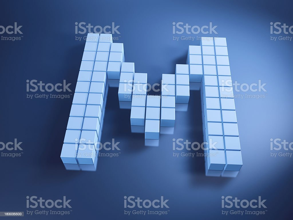 Pixelated Alphabet Letter M Blue Cubes royalty-free stock photo