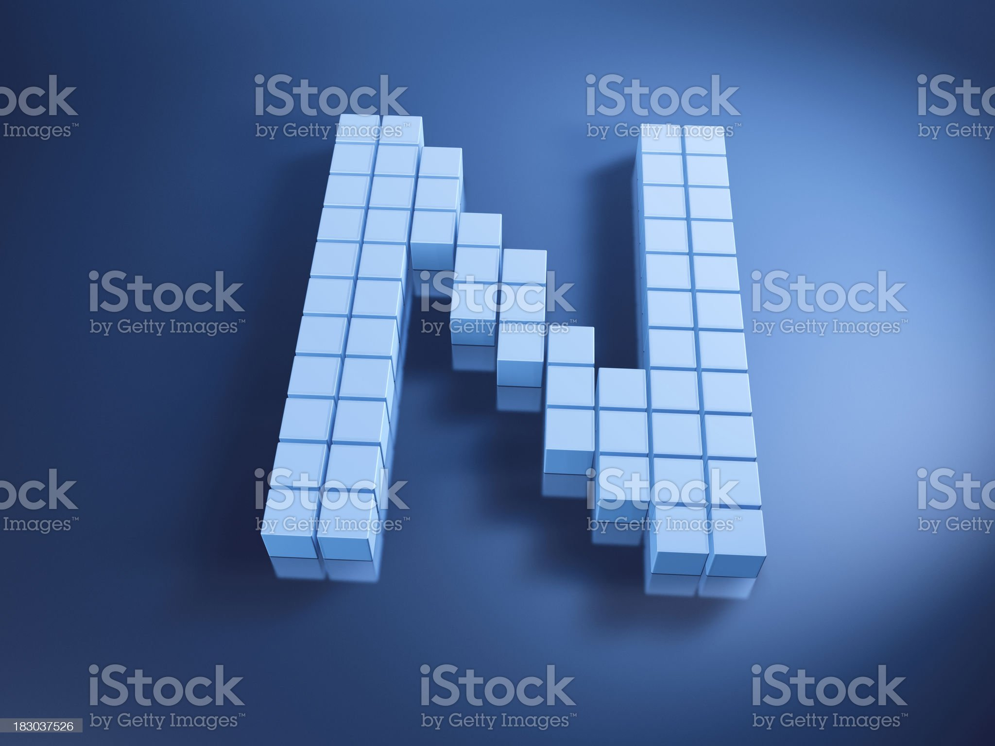 Pixelated Alphabet Letter N Blue Cubes royalty-free stock photo