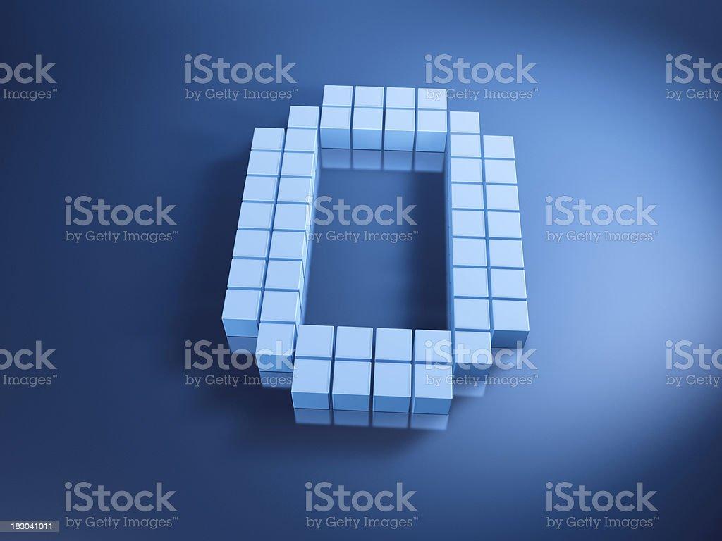 Pixelated Alphabet Letter O Blue Cubes stock photo
