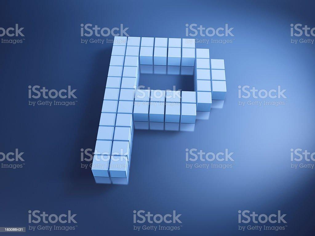 Pixelated Alphabet Letter P Blue Cubes royalty-free stock photo