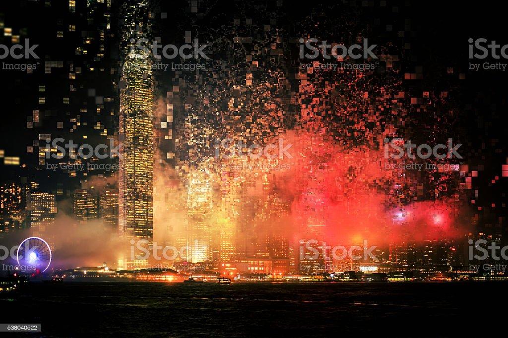 Pixelated City Effect stock photo