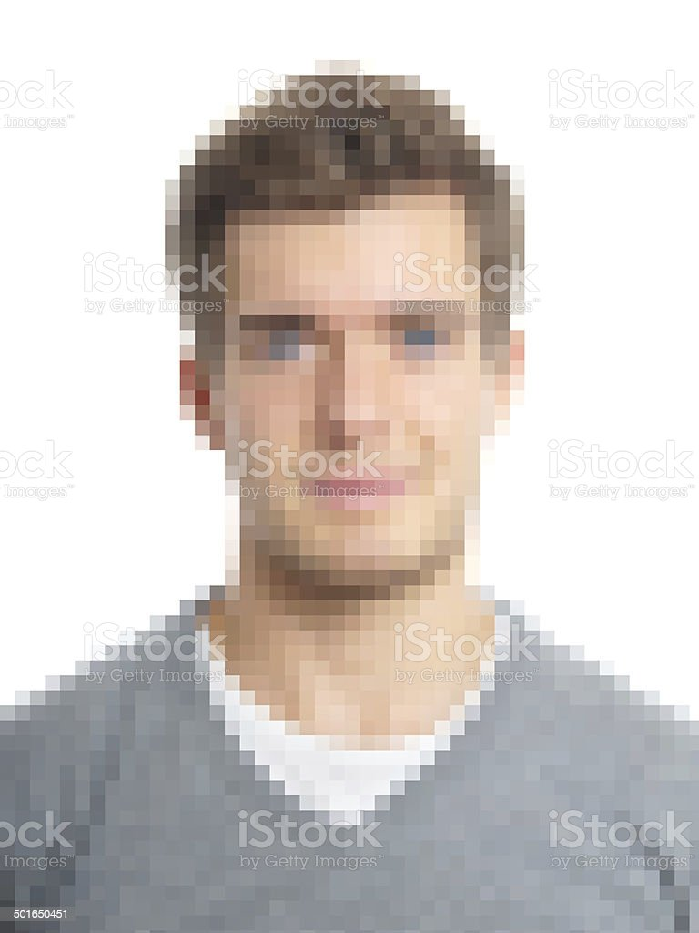 pixelated face stock photo