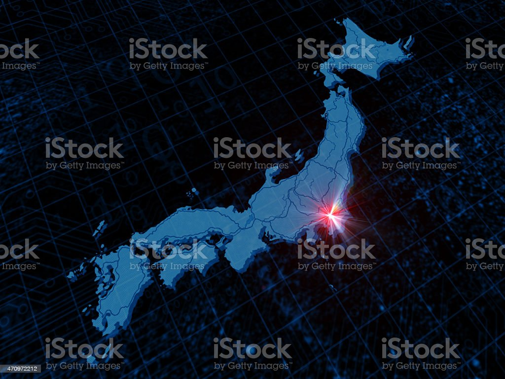 Pixelated japan map stock photo