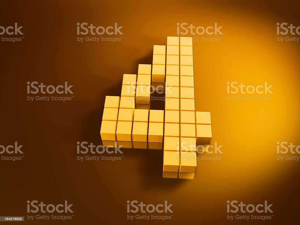 Pixelated Number Four Golden Cubes royalty-free stock photo