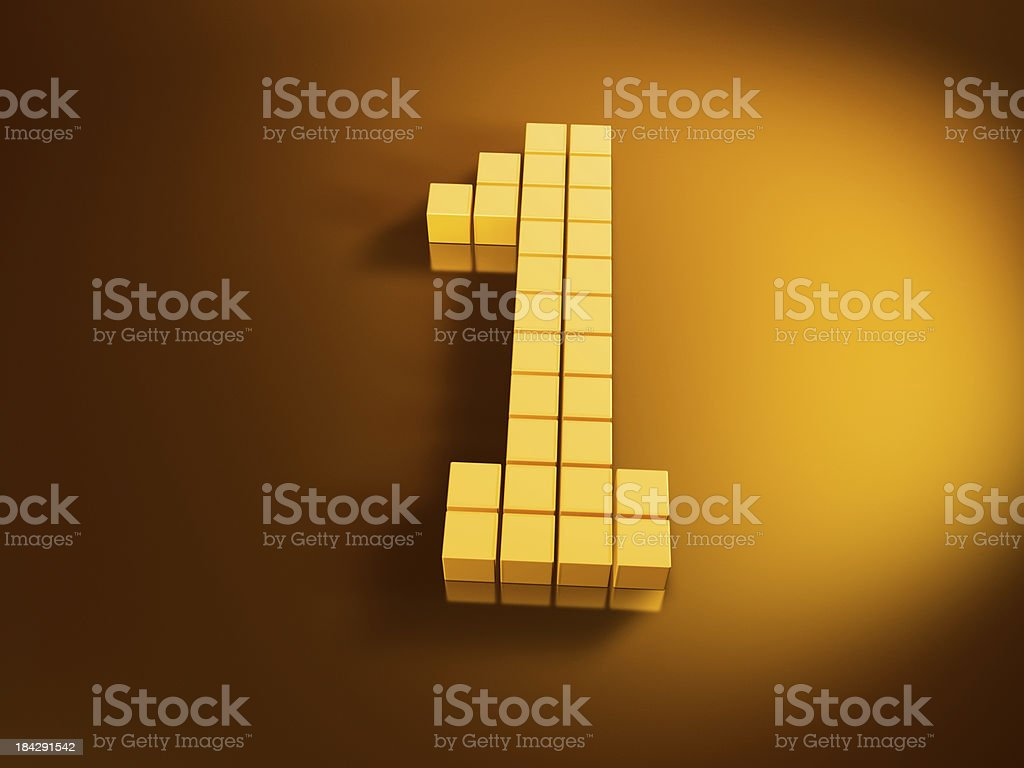 Pixelated Number One Golden Cubes royalty-free stock photo
