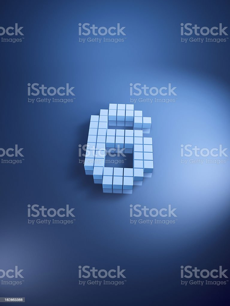 Pixelated Number Six Blue Cubes Vertical royalty-free stock photo
