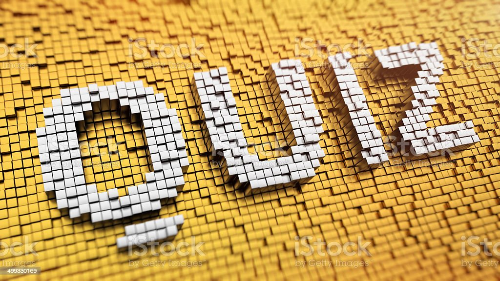 Pixelated QUIZ stock photo