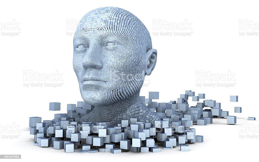 Pixelman. 3D head royalty-free stock photo