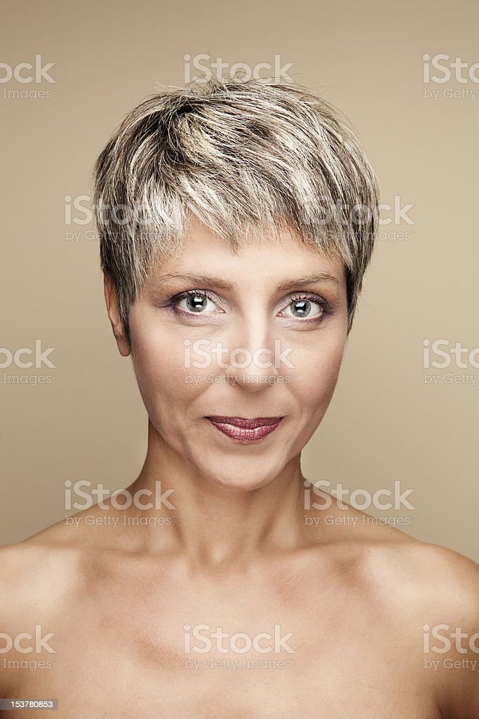 Pixie Haircut Lady stock photo