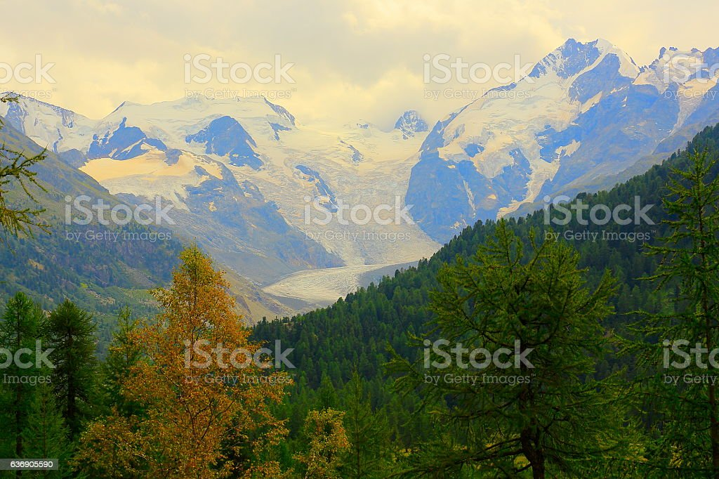 Piz Bernina Massif above Engadine Valley alpine landscape, Swiss Alps stock photo