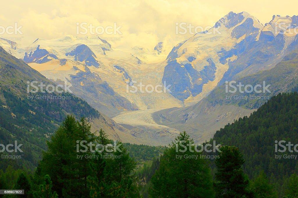 Piz Bernina Massif above Engadine Valley alpine landscape, Swiss Alps stock photo