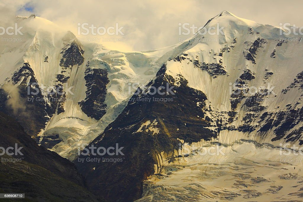Piz Bernina Massif,  Morteratsch glacier crevasses, alpine landscape, Swiss Alps stock photo