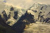 Piz Bernina Massif,  Morteratsch glacier crevasses, alpine landscape, Swiss Alps