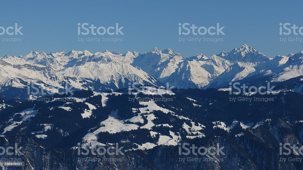 Piz Buin and other high mountains stock photo