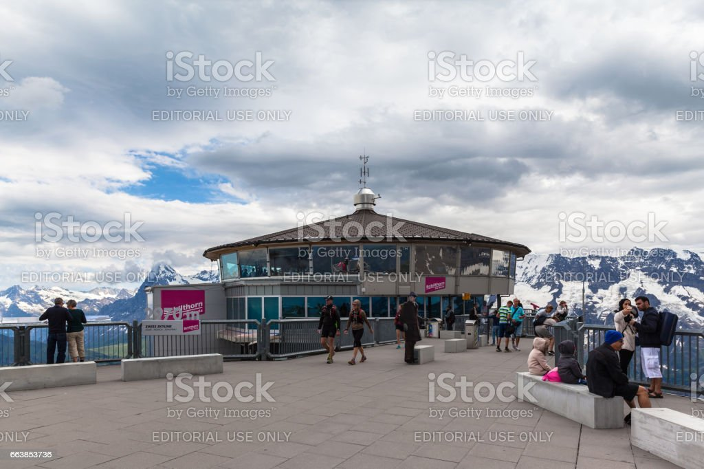 Piz Gloria revolving restaurant on top of Schilthorn stock photo