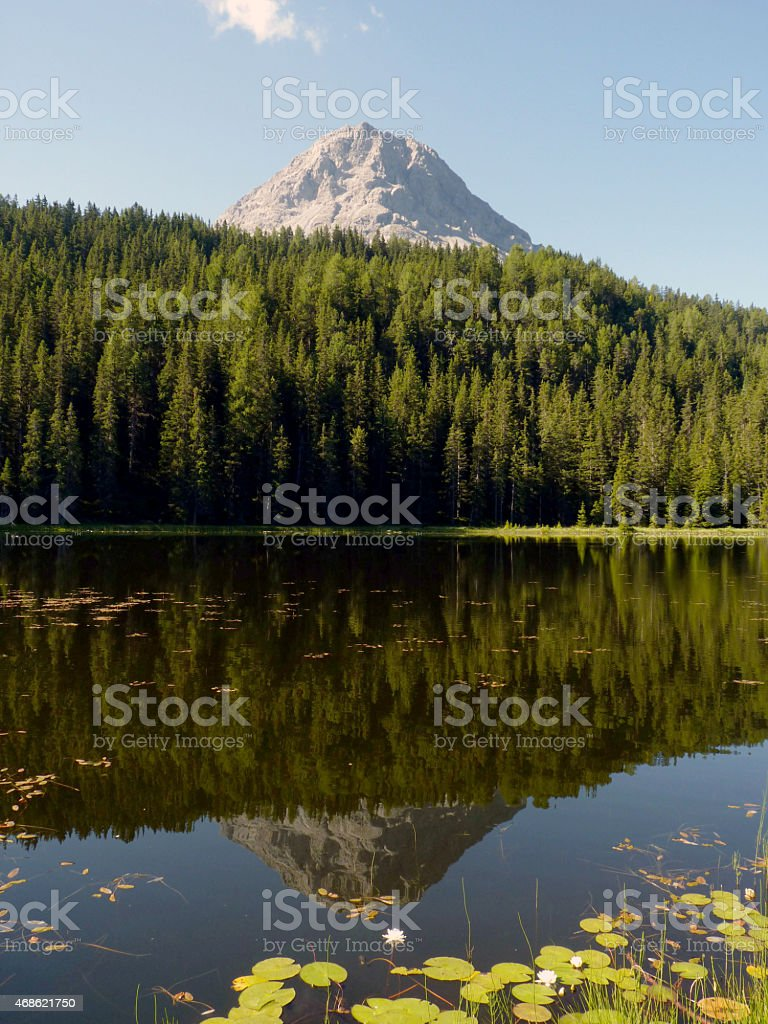 Piz Lad im Schwarzen See stock photo