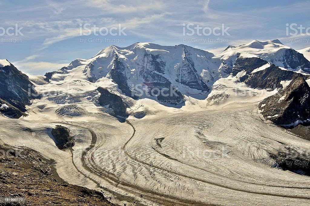 Piz Palu and glaciers in Swiss Alps, Switzerland stock photo
