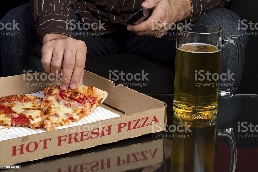 Pizza and Beer royalty-free stock photo