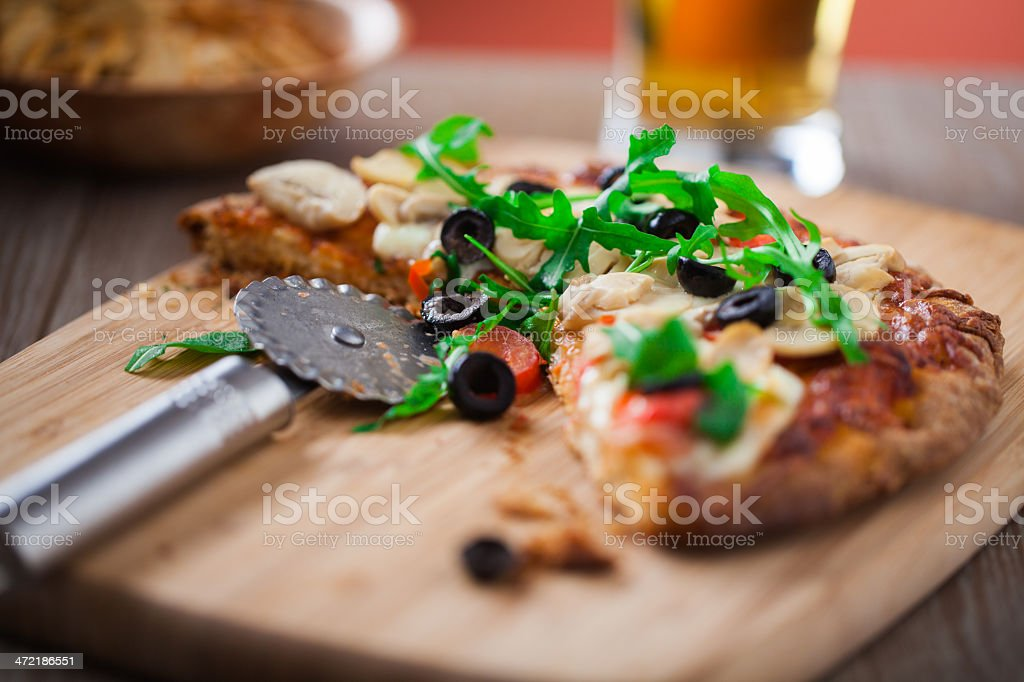 Pizza and Beer stock photo
