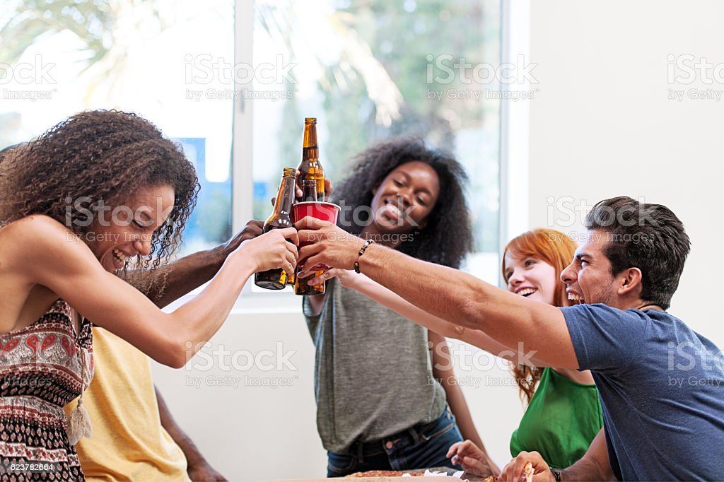 Pizza and beers party stock photo