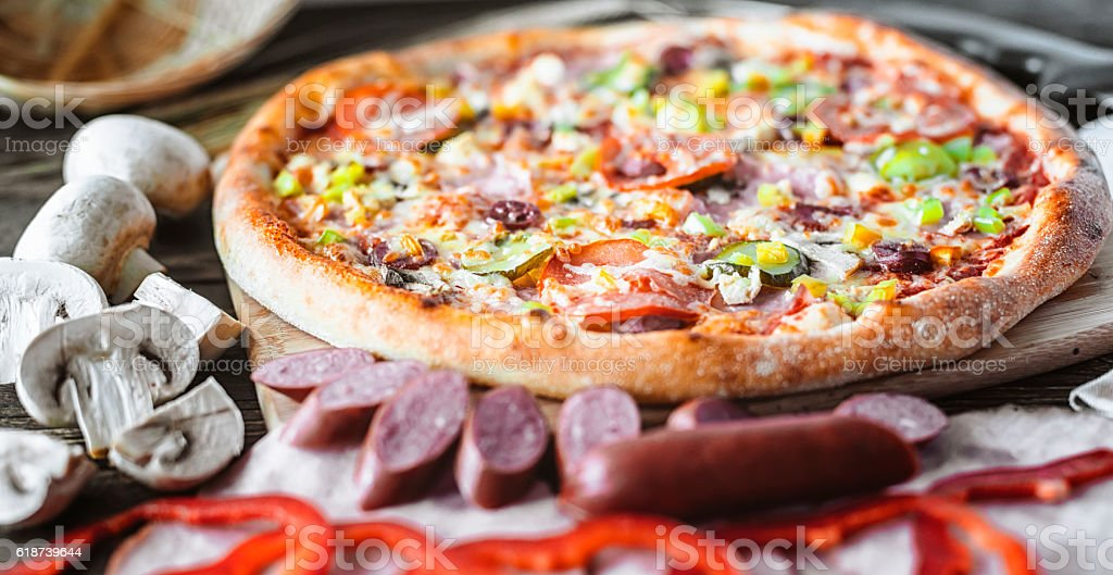 pizza and components stock photo