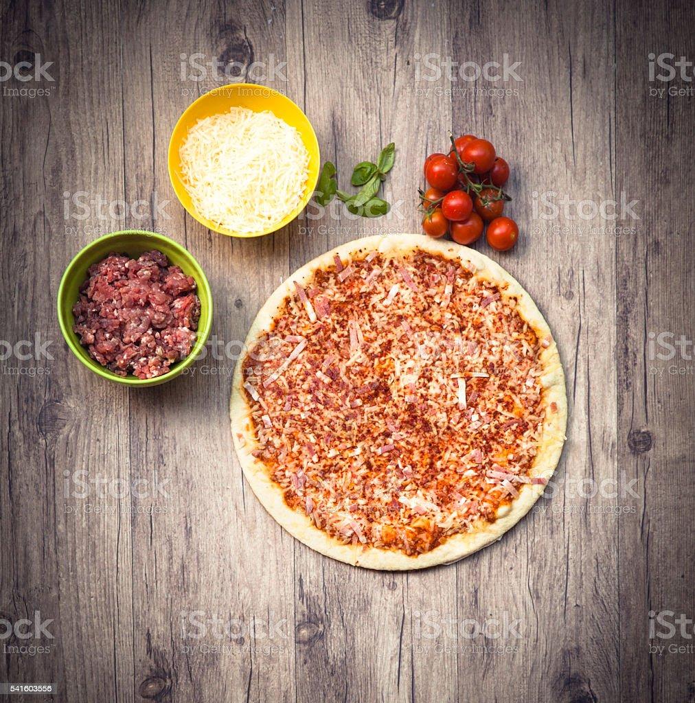 Pizza and ingredientes stock photo