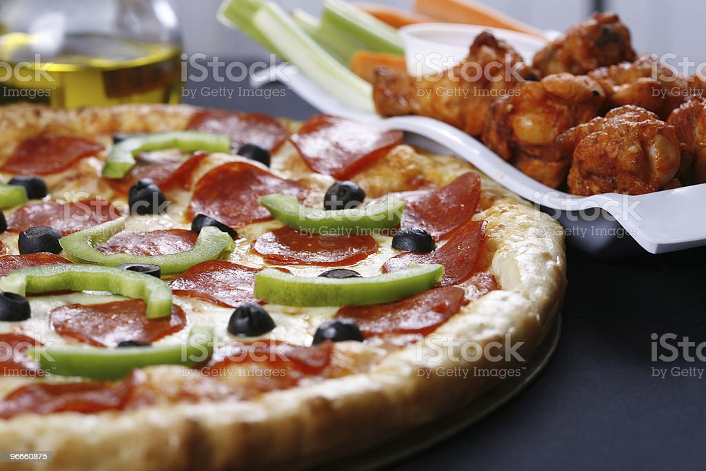pizza and wings royalty-free stock photo