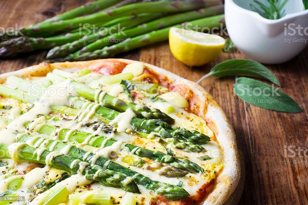 Pizza Asparagus stock photo