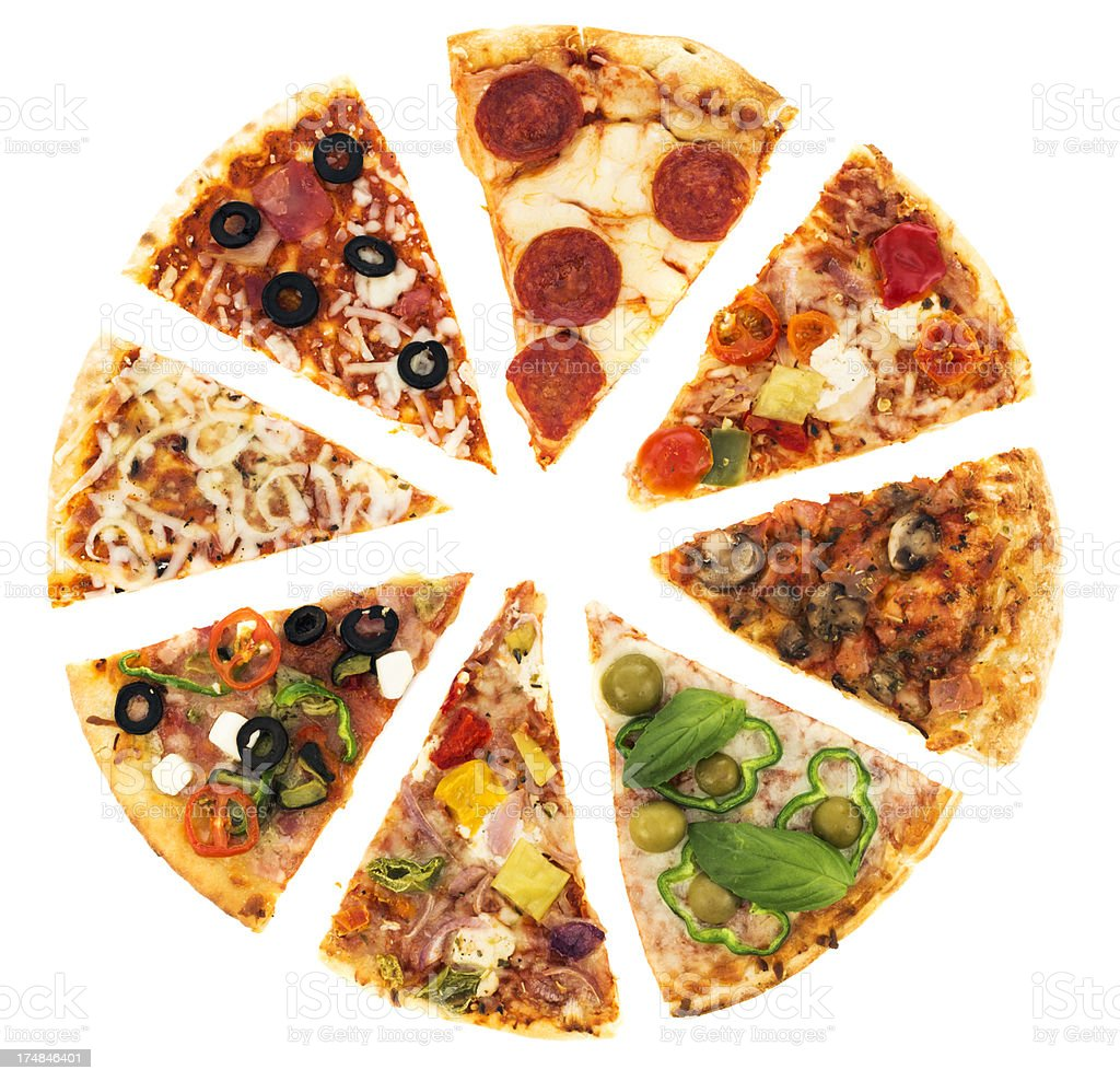 Pizza assortment stock photo