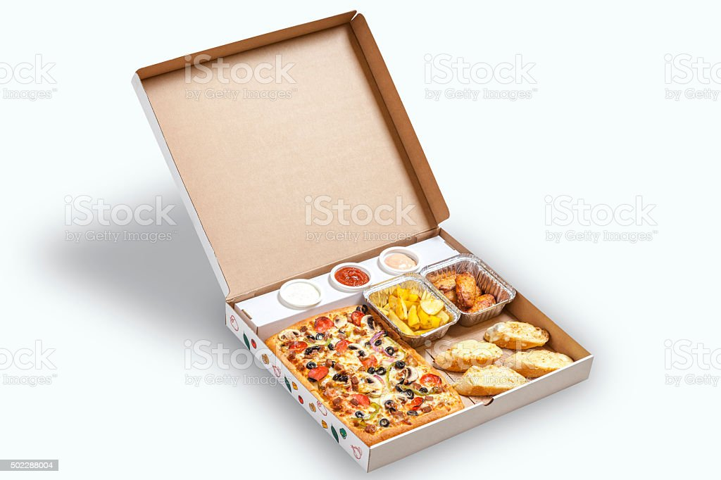 pizza box isolated on white stock photo