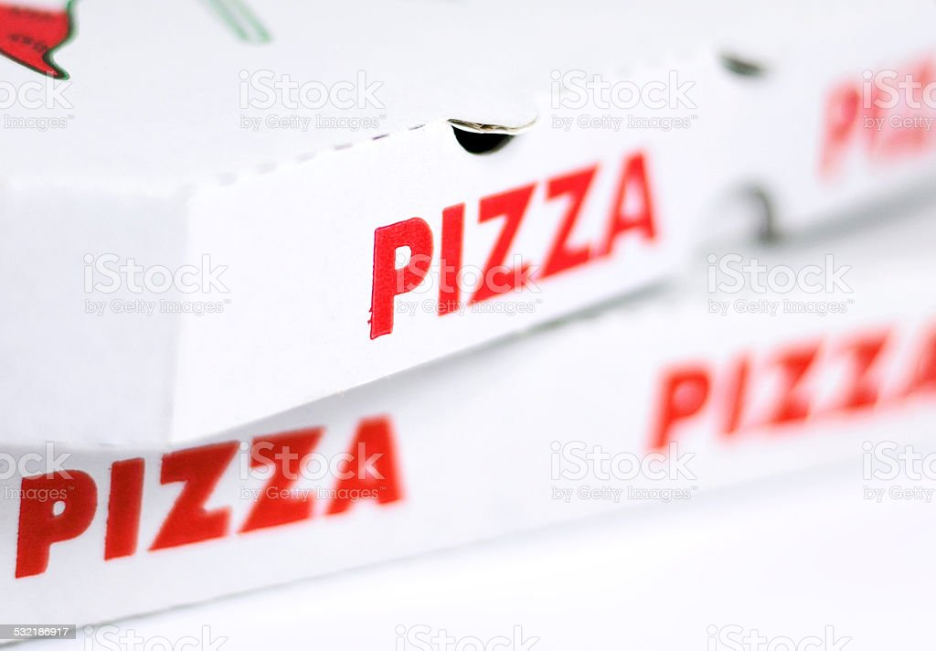 Pizza boxes stock photo