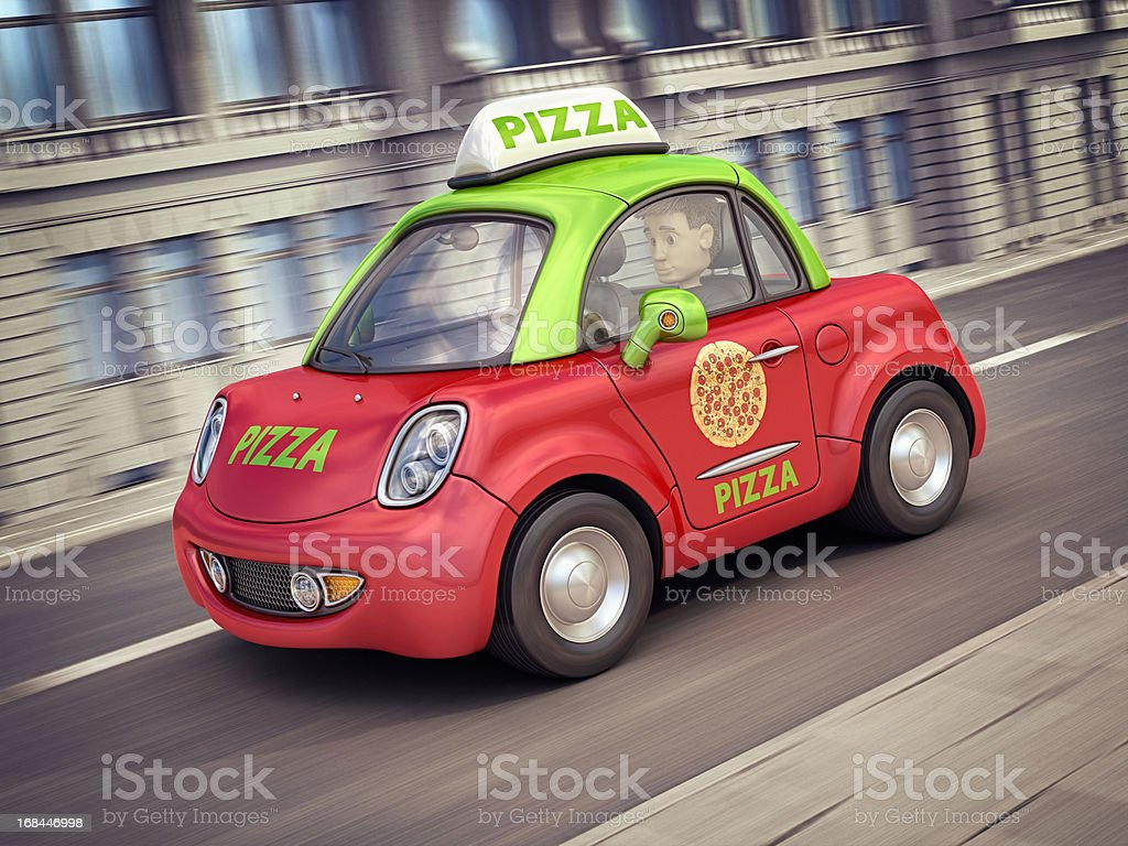 pizza car in the city royalty-free stock photo