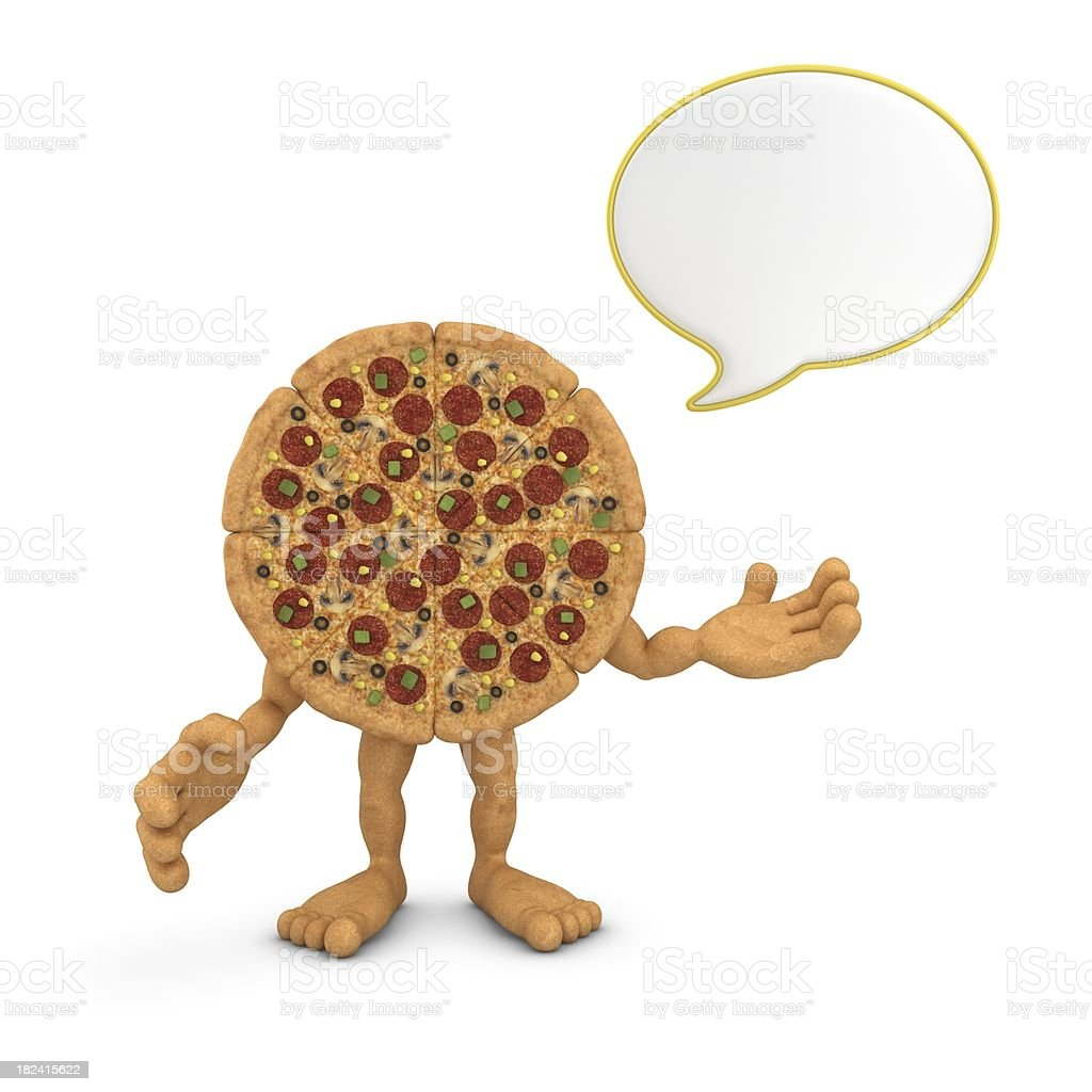 pizza character with speech bubble royalty-free stock photo