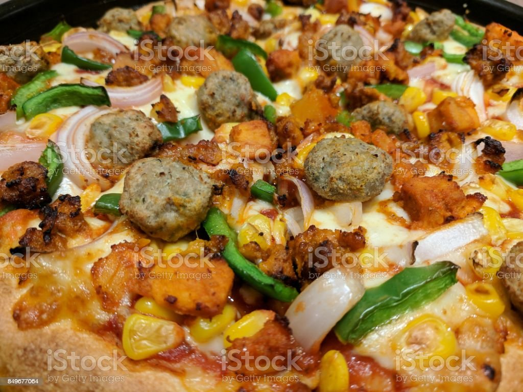 pizza chicken stock photo