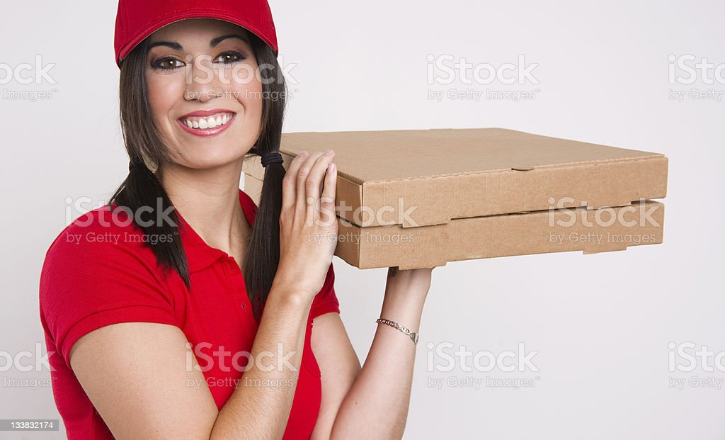 Pizza Delivery Fresh Food Shipping Boxes Smiling Female Beauty stock photo