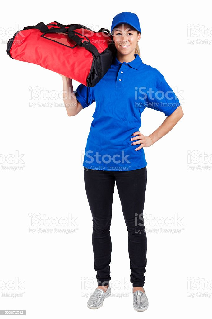 Pizza Delivery Girl stock photo