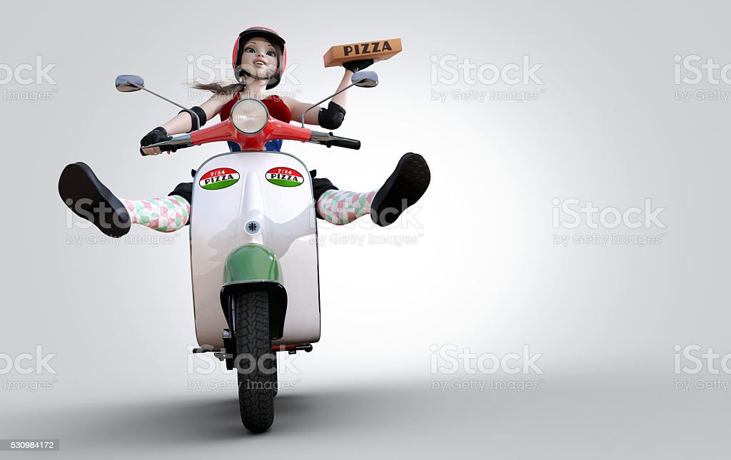 pizza delivery girl with scooter stock photo