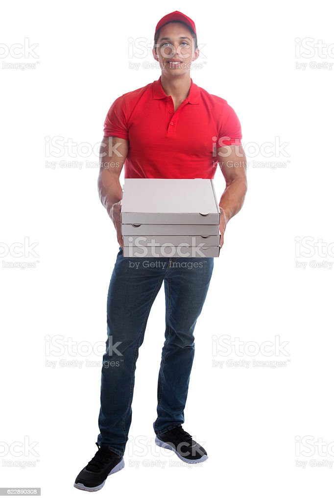 Pizza delivery man order delivering job young full body isolated stock photo