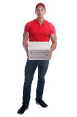 Pizza delivery man order delivering job young full body isolated