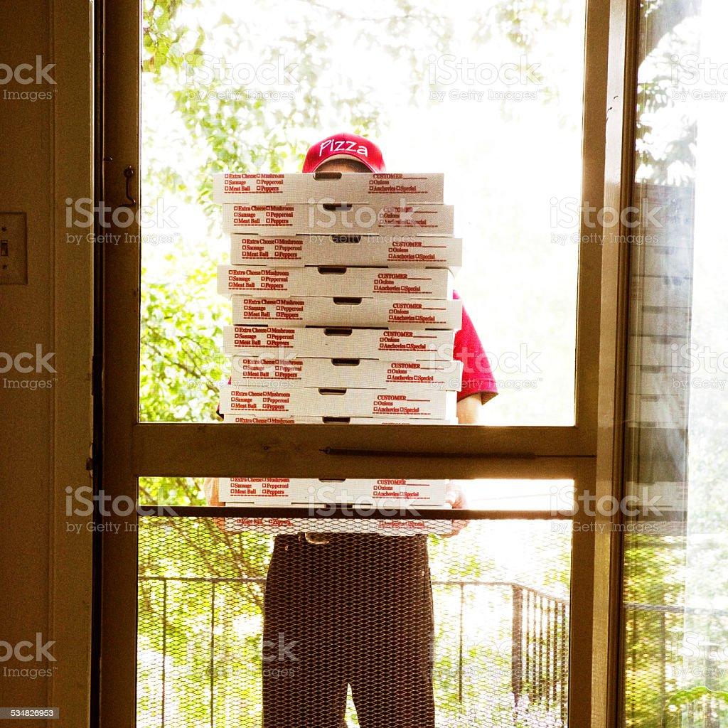 Pizza Delivery Person stock photo