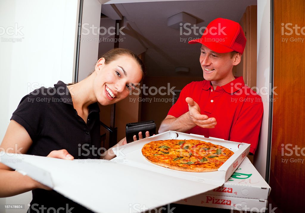 pizza delivery stock photo
