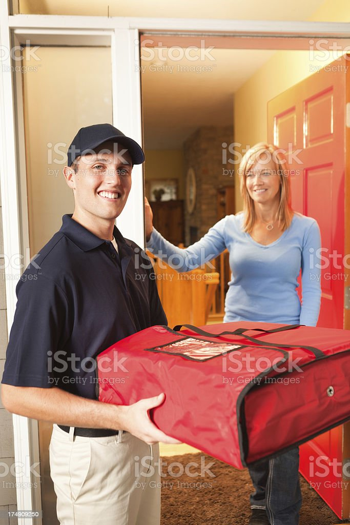 Pizza Delivery Service with Take-out Food and Customer Vt royalty-free stock photo