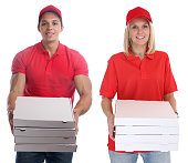 Pizza delivery woman man order delivering job young isolated