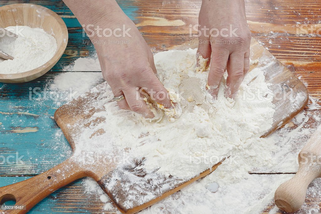 Pizza dough made from yeast and flour stock photo