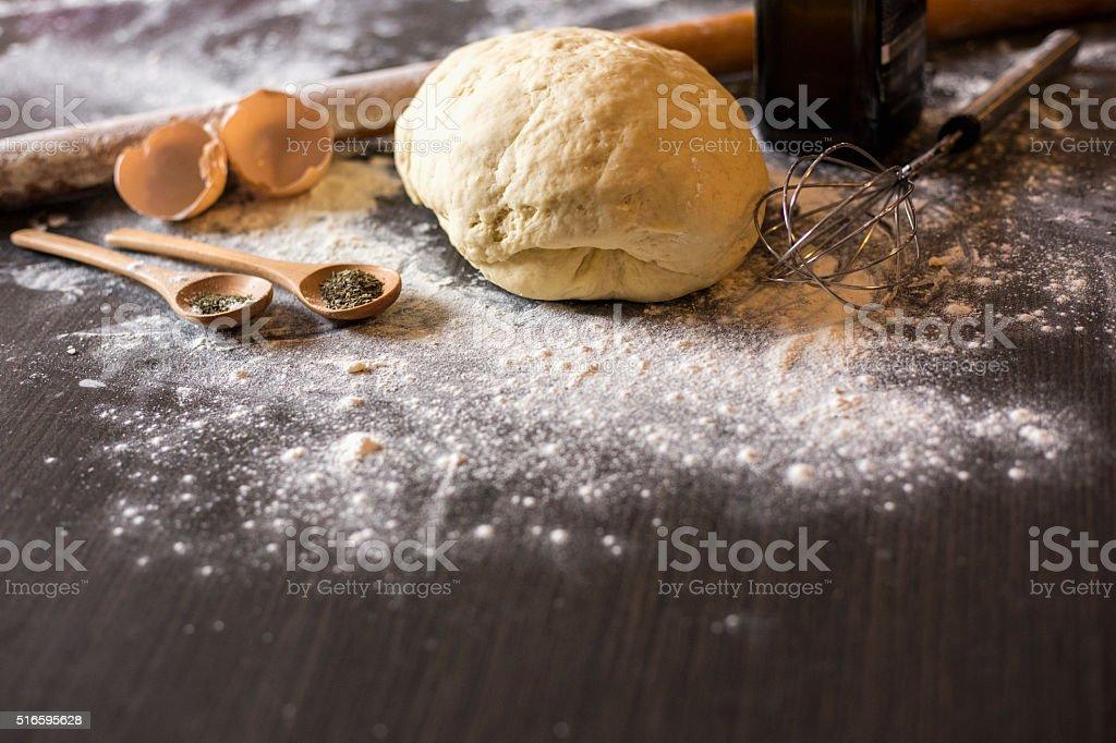 pizza dough stock photo